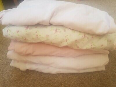 5 X Pink Cot Bed Sheets