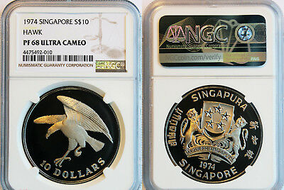 #28: 1974 Singapore $10 Hawk Proof Silver Coin Pf68 Ultra Cameo Ngc#4475492-010