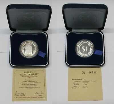#32: 1977 Singapore Sterling Silver $1.00 Proof Coin In Orig Box & Coa #06881