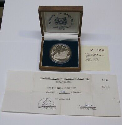 #13: 1976 SINGAPORE $10 SHIP 10th ANNIVERSARY PROOF SILVER COIN W ORIG BOX & COA