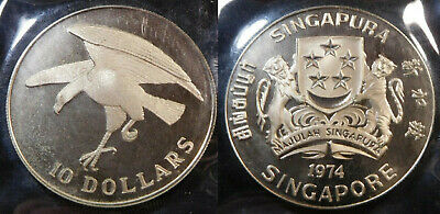 #51 1974 Singapore Hawk $10 Proof 0.5 Fine Silver Coin Without Box & Coa