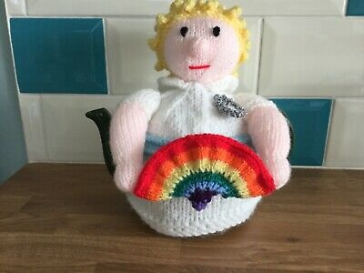 Hand Knitted Nurse with Rainbow Teapot Cosy. Great  Gift
