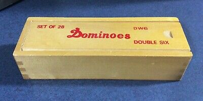 Standard DOMINOES Set of 28 Double Six Center Pin Domino Tiles With Wood Case