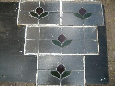 Stained glass leaded windows. 4 small panels, Art Deco style.