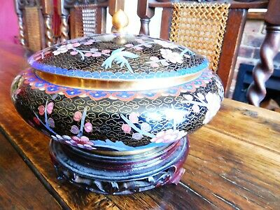 Lovely Large Cloisonne Colourful lidded pot on a hardwood Stand