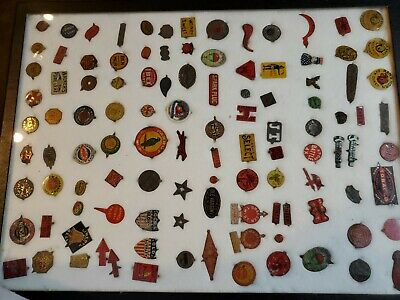 Antique TOBACCO TAG Collection 106 Tags Lot 3 in display  case