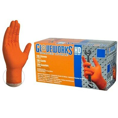 Ammex Gloveworks Orange Nitrile Gloves- XL- 100/ct box- GWON48100