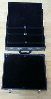 Vintage Leather Over Wood SALESMANS SAMPLE Jewelry CASE *Pocket Watch *Coins *