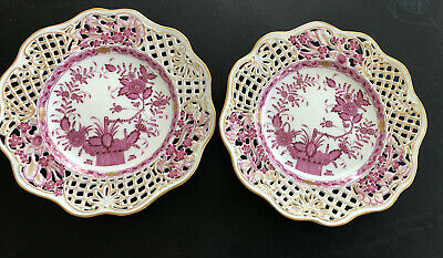 """HEREND PORCELAIN ANTIQUE INDIAN BASKET RASPBERRY 8.50"""" Pr of RETICULATED PLATES"""