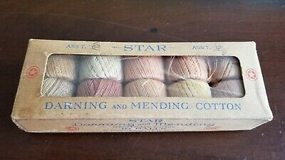 Vintage Star Darning And Mending Mercerized Cotton Thread 10 Ball Set