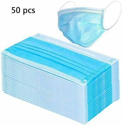 50 Pack 3 PLY Disposable Protective Face Mask Mouth Cover Respirator Blue Mask
