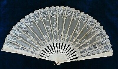 Antique Lace And Voile Hand Fan With Wavy Bone Patterned Sticks, 34.5 Cm
