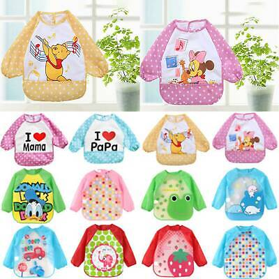Baby Toddler Infant Kids Long Sleeve Feeding Bib Waterprood Coverall Apron Smock
