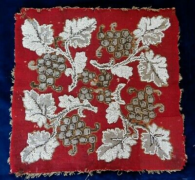 Antique Heavy Bead Work And Tapestry Panel, Steel And Glass Beads, 41 X 40 Cm