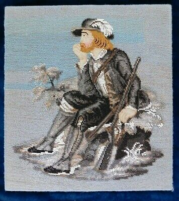 Antique Pictorial Bead Work, Petit Point And Tapestry Panel
