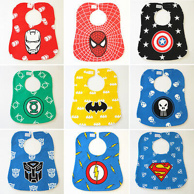 Baby Children Kids Infant Superhero Spider-Man Batman Bibs Feeding Saliva Apron