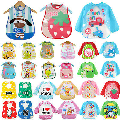 Child Baby Bibs Waterproof Cloths Cartoon Weaning Feeding Apron Smock Art Craft