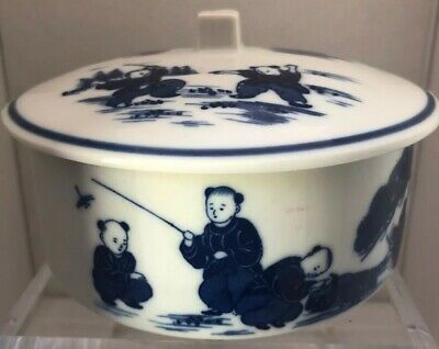 """Chinese High Gloss Porcelain 5.5"""" Covered Serving Bowl Blue  White Scenic Boys"""