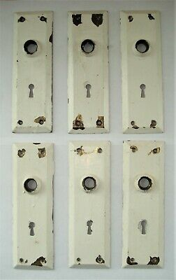 6 Vintage Matching Metal Door Knob Escutcheon Back Plates