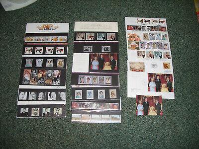 Stamps Royalty Royal Mail QE II,Diana,Q.Mother etc - Presentation Packs x 13 +++