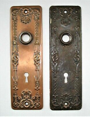 2 Vintage Victorian Y&T Bronze or Copper Door Knob Escutcheon Back Plates