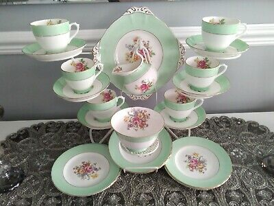 New Chelsea Staffs Tea Set Mint Green And Floral With Gold Gilding