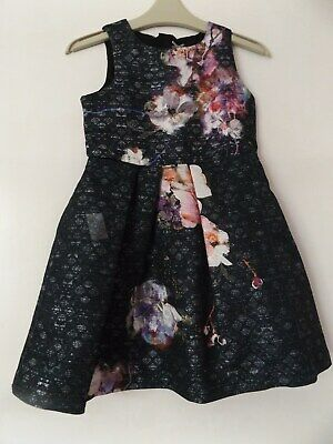 Next pretty party dress black with flowers aged 5 Years