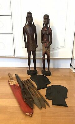 A Collection Of 10 Vintaged African Tribale Art