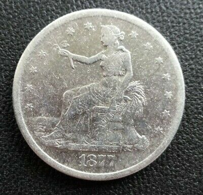1877-S Trade Silver Dollar Coin Great Condition