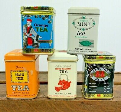 Vintage Chinese Tea Tins, discontinued, lot of 5