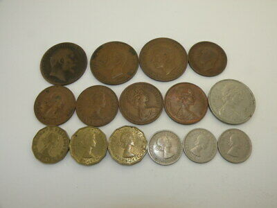 Lot of 15 Old Great Britain 1910 to 1977 Coins Circulated YOU GRADE!
