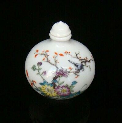 Collectible 100% Handmade Painting Porcelain Snuff Bottles Flower Bird 09