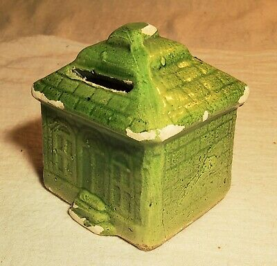 Rare Antique Small Green Glazed Pottery Still Bank Shaped Like A Rectangle House