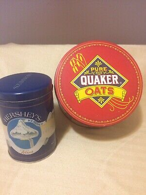 Vintage Tins  Hershey's Kisses,New -1989 &  Quaker Oats, Limited Ed 1983 used