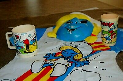 """Smurfs""  Deka Coffee Cup, 4"" Glass, And A  Halloween Costume, 1980"