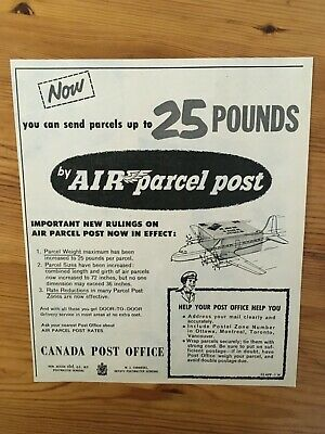 Free Shipping Canada Canadian Ad 1952 Canada Post Parcel Air Mail Letters Mail