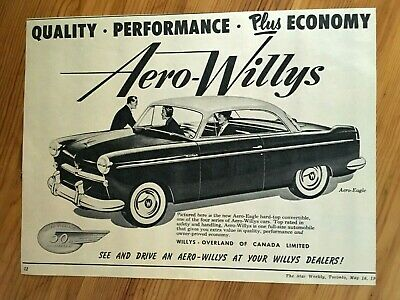 Free Shipping Canada Canadian Ad 1953 Aero Willys Overland Jeep Canada Car Ad