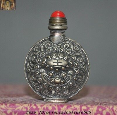 Collect Chinese Old Tibetan Silver Beast Tiger Head Statue snuff bottle