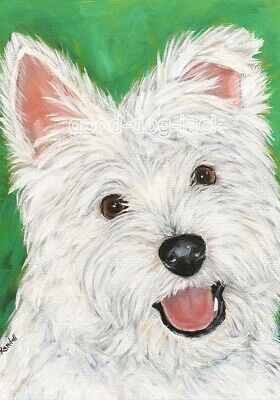 """West Highland Terrier WESTIE MATTED PRINT Painting """"HAPPY"""" Dog Art RANDALL"""