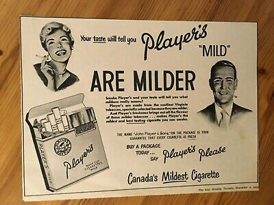 Free Shipping Canada Canadian Ad 1952 Player's Cigarettes Tobacco