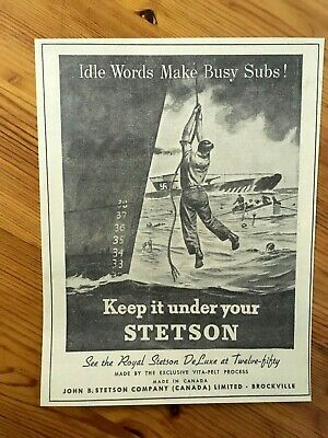 Free Shipping Canada Canadian Ad 1943 Wwii Stetson Hat Navy Subs Nazis