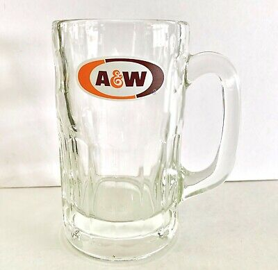 "Vintage A & W Root Beer 5 3/4"" LARGE Mug Heavy Glass w/ Thumbprint Design"