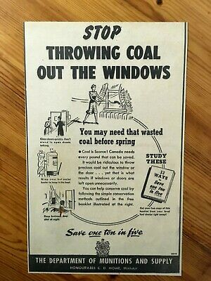 Free Shipping Canada Canadian Ad 1943 Wwii Ration Rationing Coal War Effort