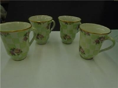 MACKENZIE-CHILDS Set Of 4  Retired Green Sweet Pea Honeymoon CHECK Mugs