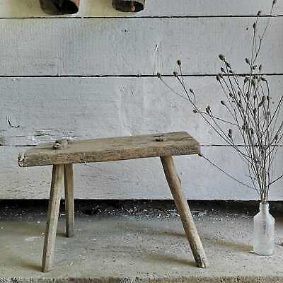 Vintage Rustic Primitive Hand-Made Milking Stool or Bedside Occasional Table