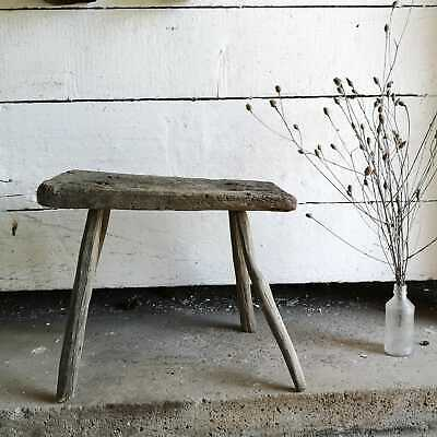 Vintage Rustic Hand-Made Milking Stool or Primitive Bedside Occasional Table