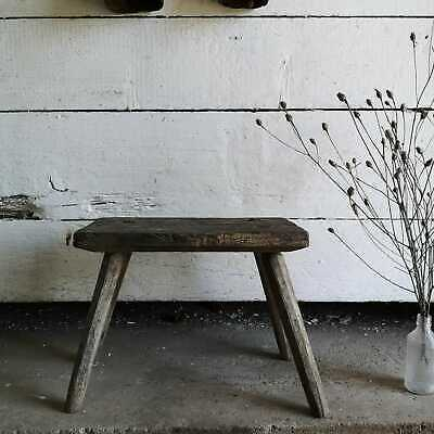 Vintage Primitive Hand-Made Milking Stool or Bedside Rustic Occasional Table