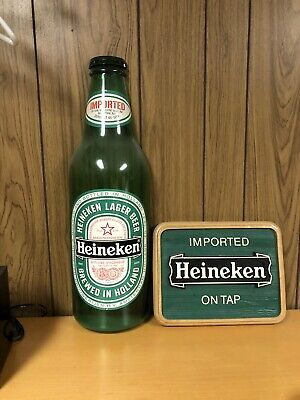 Vintage Heineken Beer Sign And A Plastic Large Bottle For The Wall.