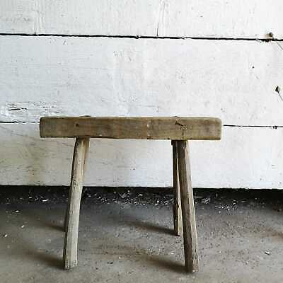 Primitive Rustic Hand-Made Milking Stool or Bedside Vintage Occasional Table