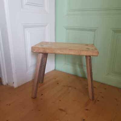 Primitive Hand Made Rustic Milking Stools or Bedside Occasional Tables Farmhouse